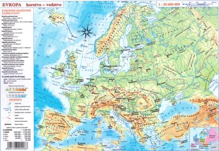 Tabulka Evropa Horstvo Vodstvo Evropa Staty Mesta Mapa A4